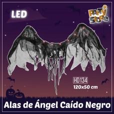 ALAS DE ANGEL CAIDO NEGRO LUMINOSO LED 120x50cm
