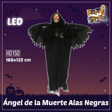 ANGEL DE LA MUERTE ALAS NEGRAS LUMINOSO LED 166x132cm